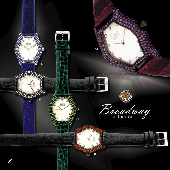 Effy Broadway Diamond & Orange Sapphire Mother-of-Pearl Dial Ladies Watch