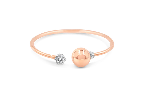 Golden Globe Sphere Flower Diamond Bangle