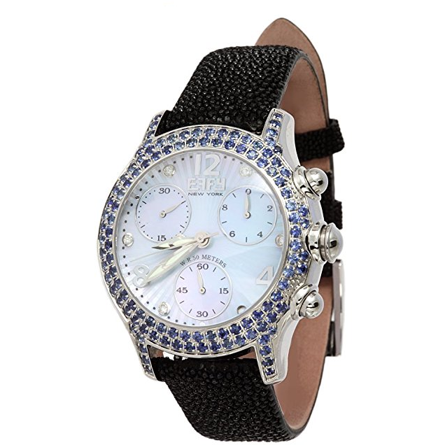 Effy Columbus Circle Diamond & Blue Sapphire Mother-of-Pearl Dial Watch
