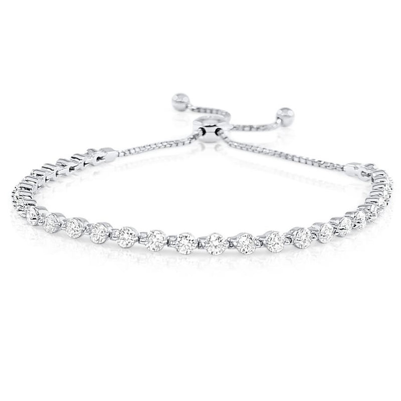 White Gold 2.50 CT Diamond Bolo Bracelet