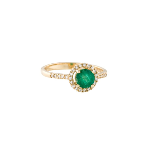 Yellow Gold Diamond Emerald Ring