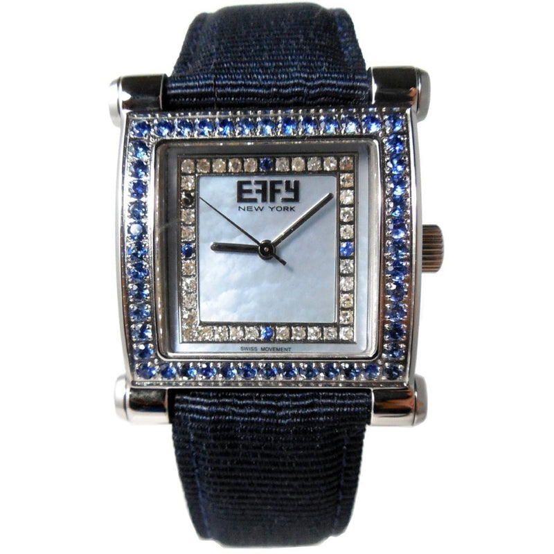 Effy Park Avenue Diamond & Blue Sapphire Mother-of-Pearl Dial Unisex Watch