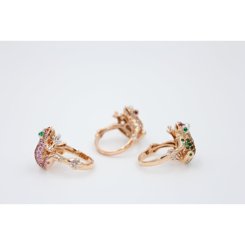 Brown Diamond Lucky Frog Ring