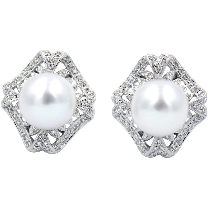 South Sea Pearl & 1.83 ct Diamond 18K Earrings