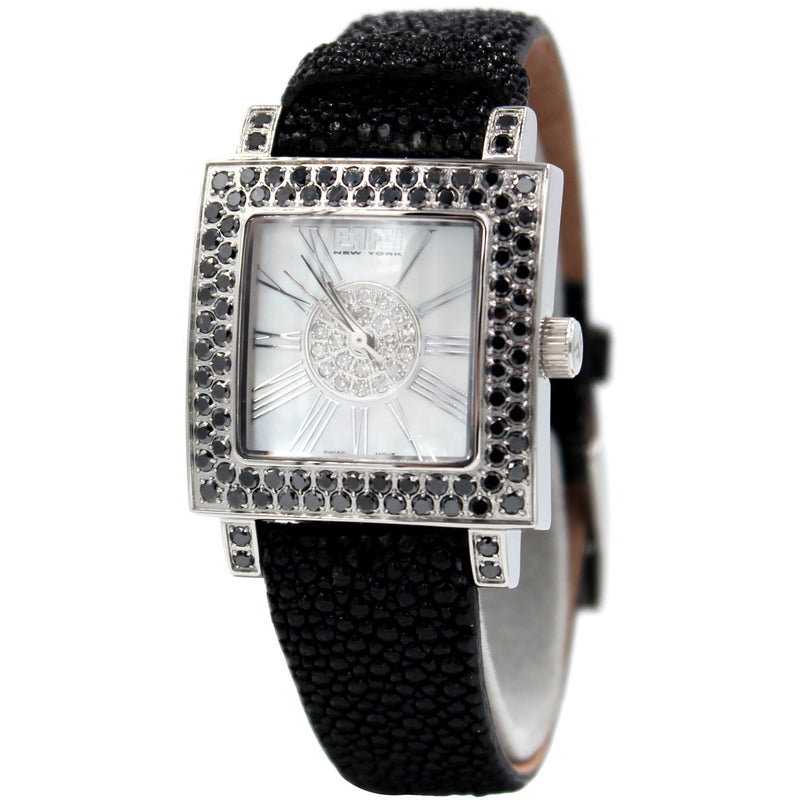 Effy Time Square Black Diamond Mother-of-Pearl Dial Unisex Watch