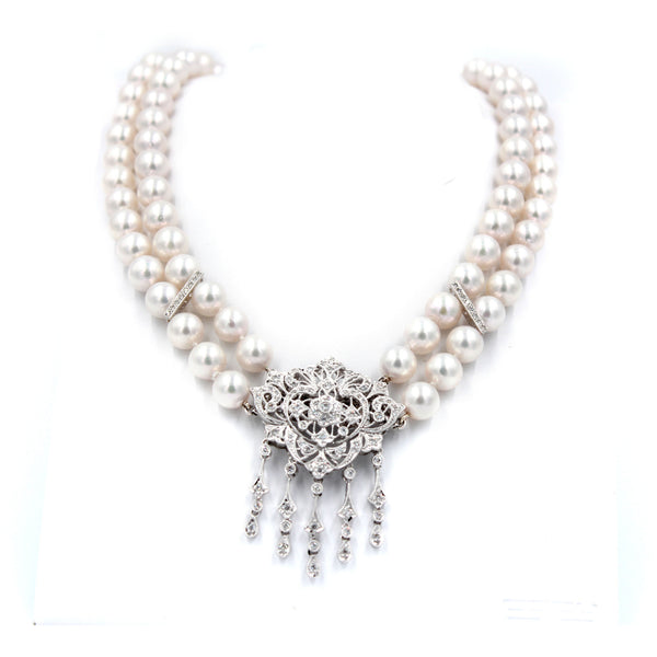 2 Row 1.22 ct Diamonds Okoya Pearl & Diamond Necklace Broach Combination