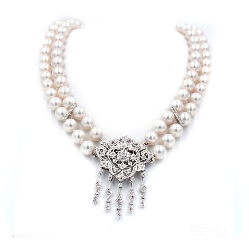 Two Row Okoya Pearl & Diamond Necklace Broach Combination