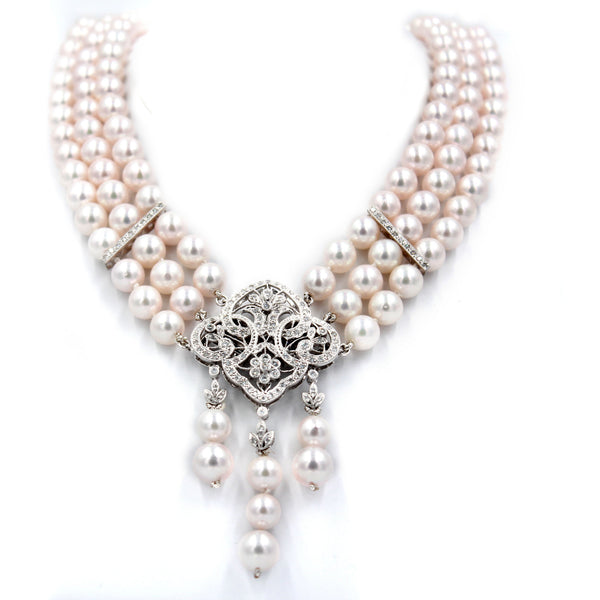 Three Row Diamond & Okoya Pearl Necklace Broach Combination