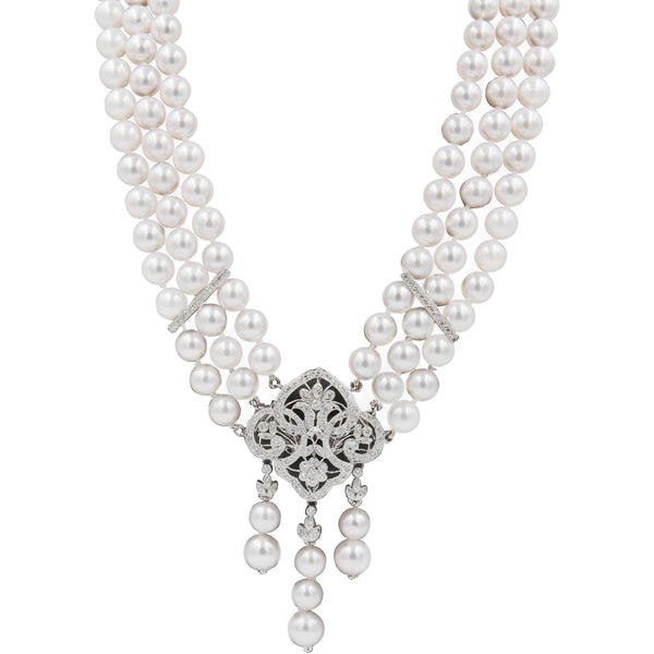 3 Row 1.06 ct Diamonds Okoya Pearl & Diamond Necklace Broach Combination