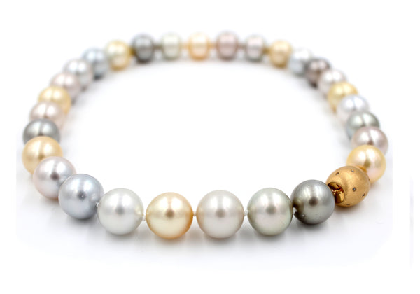 Luxury Multi-Color South Sea Pearl & Diamond Necklace