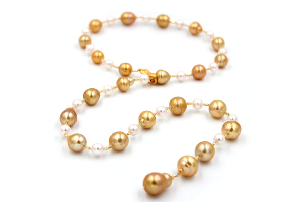 Gold & White South Sea Pearl Necklace