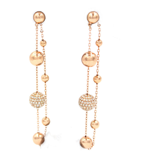 Golden Globes Spheres Earrings with 2.72 ct Diamond 18 Karat Rose Gold