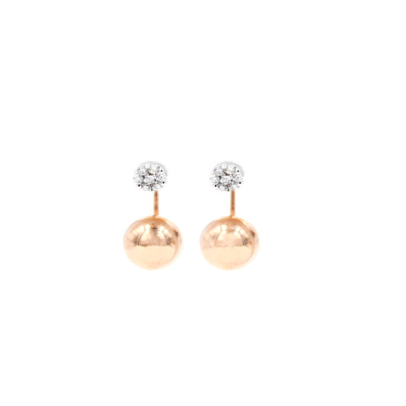 Curved Golden Globe Sphere Diamond Earrings