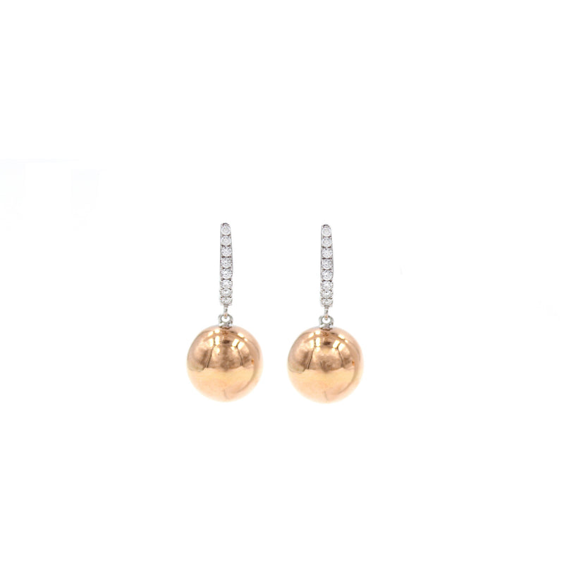 Golden Globes Spheres 18K Earrings with 0.18 ct Diamonds