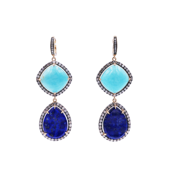 Amazonite, Lapis & Diamond Drop Earring