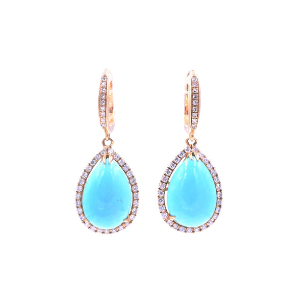 Pear-Shaped Turquoise Diamond Earring