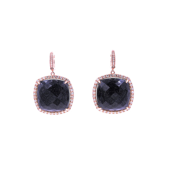 Black Goldstone & Diamond Dangle Earring