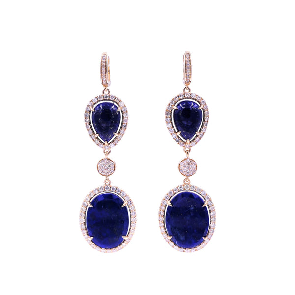 Double Lapis & Diamond Earring