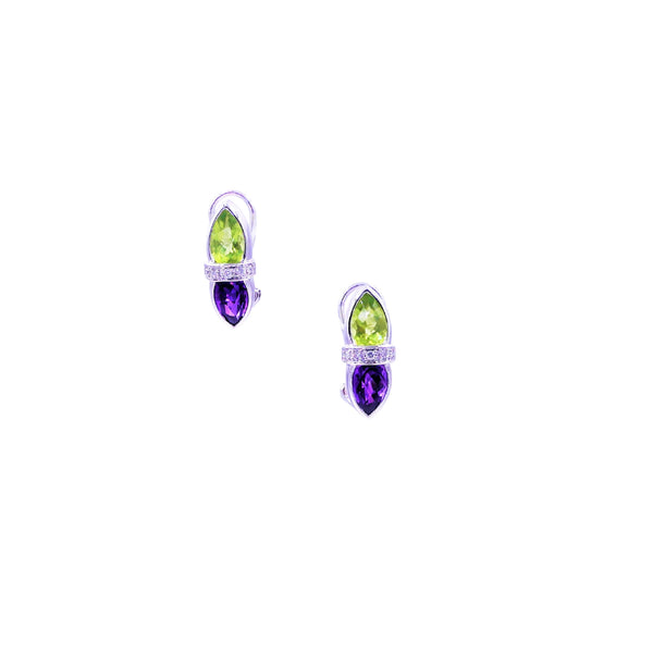Amethyst Peridot & Diamonds Earrings