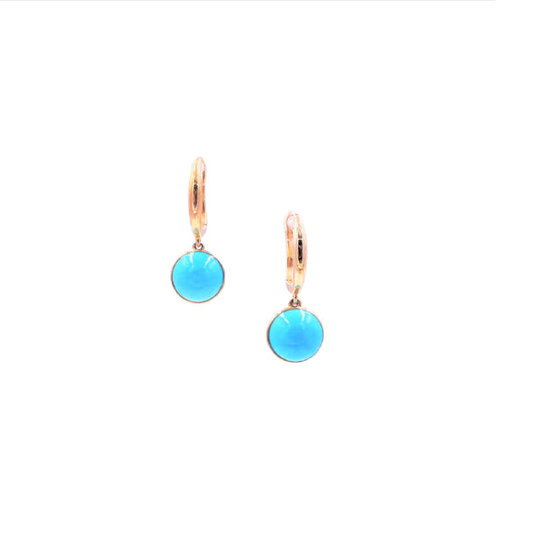 Yellow Gold Round Turquoise Earrings