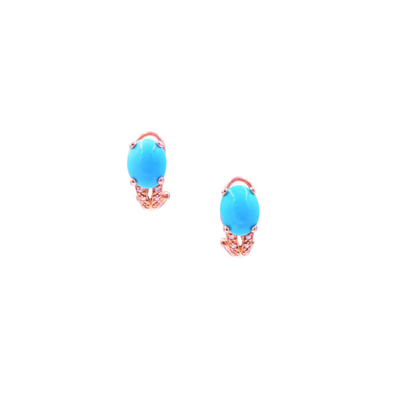 Oval Turquoise Diamond Split Earring