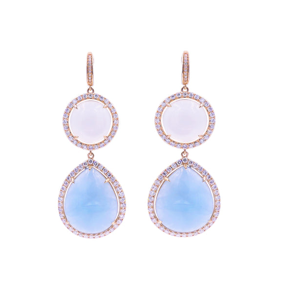Double Moonstone & Diamond Earring