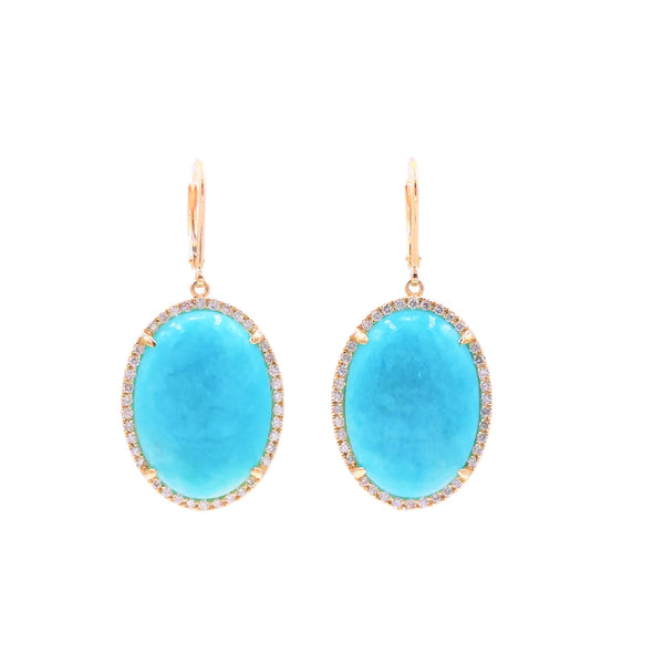 Oval Amazonite & Diamond Earrings
