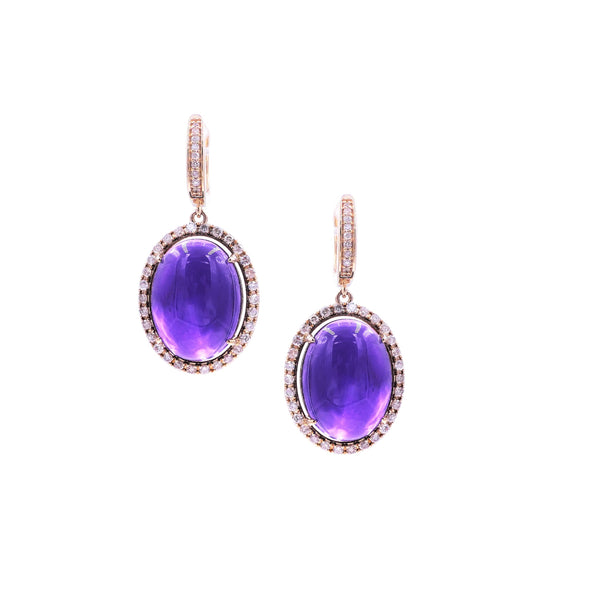 Oval Amethyst & Diamond Earring