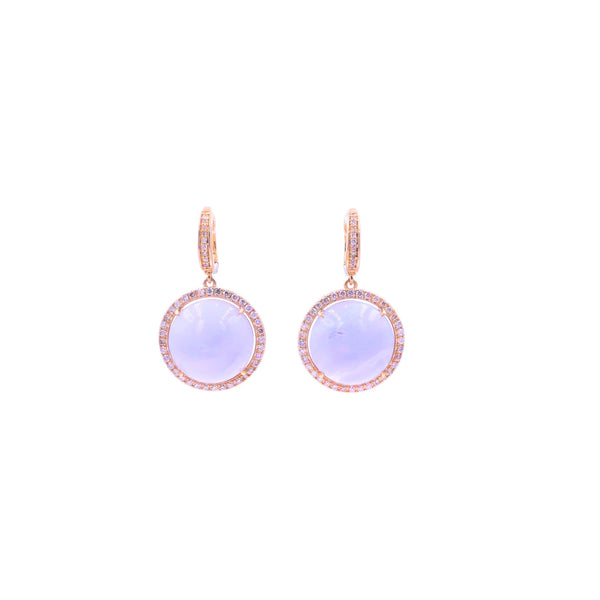 Blue Chalcedony Diamond Earring