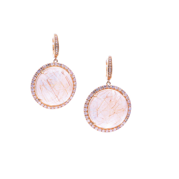 Rutilated Quartz & Diamond Earring