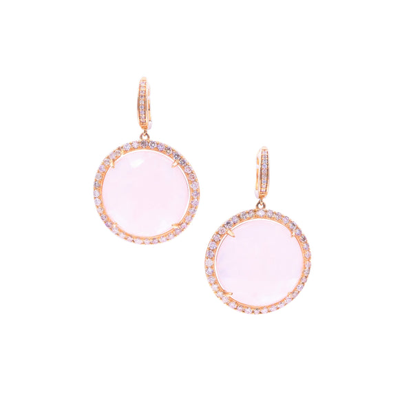 Rose Quartz & Diamond Earring