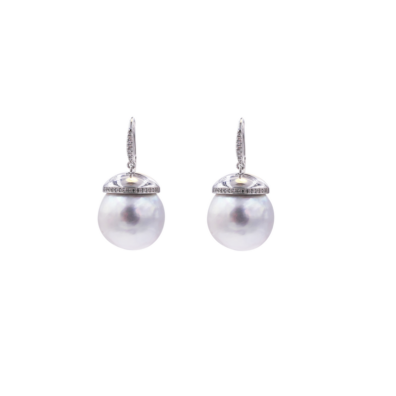 Grey Color South Sea Pearl & Diamonds Earrings