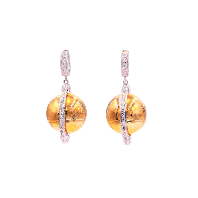 Intricate Saturn Diamond Globe Sphere Earrings