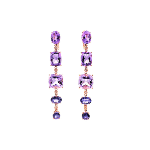 Diamond Amethyst & Iolite Earrings