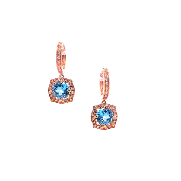 Diamond & Swiss Blue Topaz Earrings