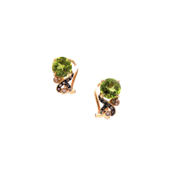 Yellow Gold Diamond & Peridot Earrings