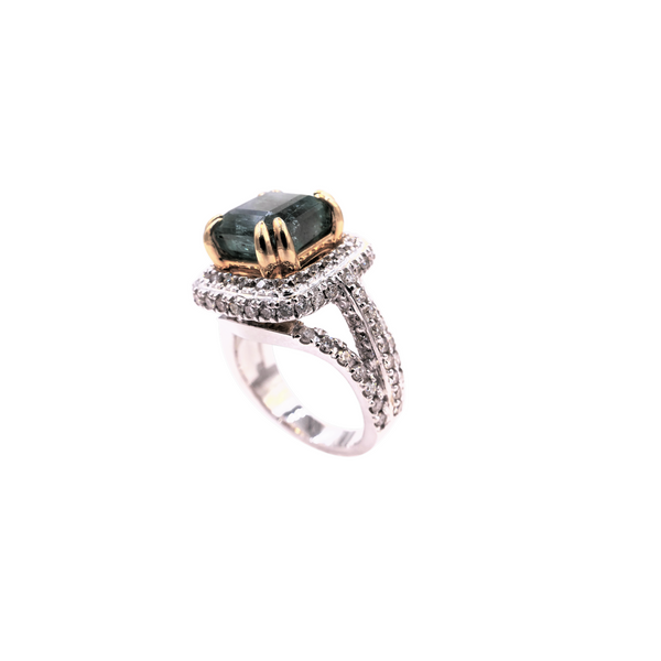 Halo-Style Square Emerald & Diamond Ring