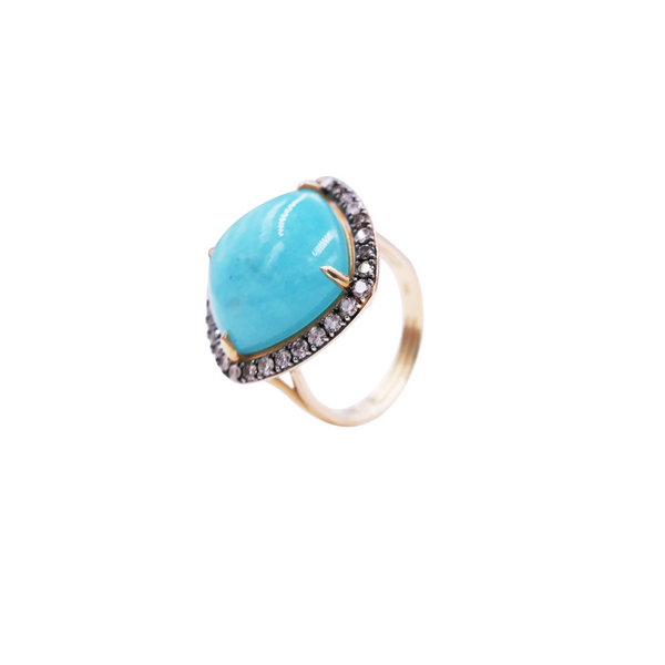 Amazonite & Champagne Diamond Ring
