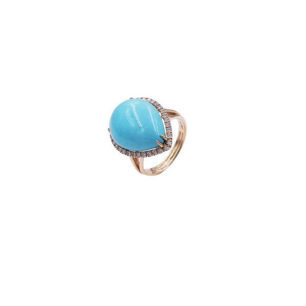 Pear-Shaped Turquoise Diamond Ring