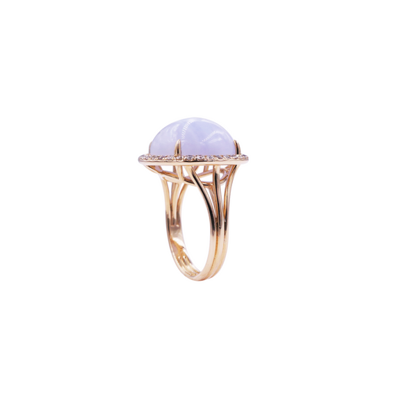 Blue Chalcedony Diamond Ring
