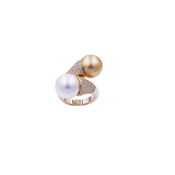 Golden Silver South Sea Pearls & Diamond Ring