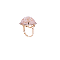 Rutilated Quartz & Diamond Ring