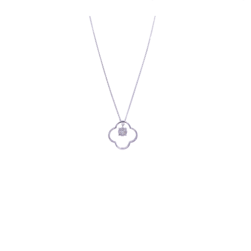 Clover 0.50 CT Round Diamond Pendant