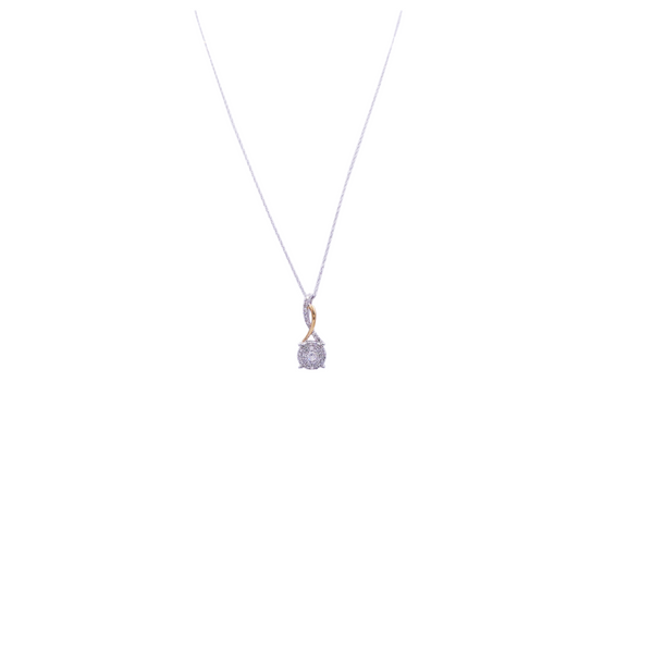 Two-Tone Gold Round Diamond Pendant