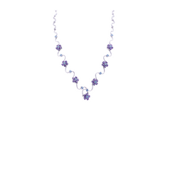 Amethyst & Blue Topaz Flower Necklace