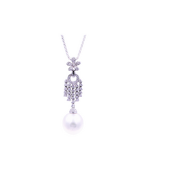 Hanging Chandelier South Sea Pearl and Diamonds Pendant
