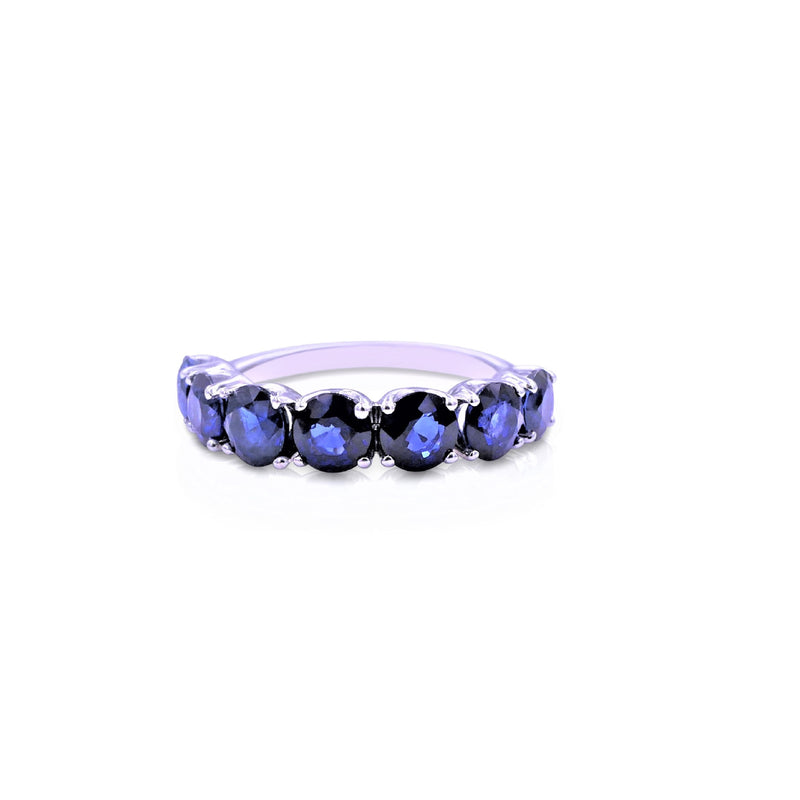 Seven-Stones Row Blue Sapphire Band
