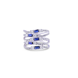 Intertwining Sapphire and Diamond Cocktail Ring