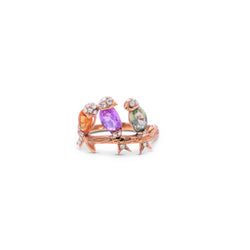 Multicolor Diamond Three Birds Ring