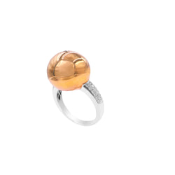 Center Golden Globe Sphere Diamond Ring